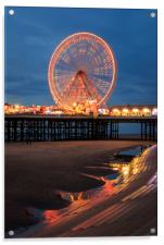 Blackpool at night , Acrylic Print