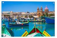 Marsalokk Harbour and  Parish Church.Malta, Acrylic Print