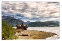 Corpach Wreck with Ben Nevis , Acrylic Print