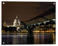Millennium Bridge and St Paul's Cathedral at Nigh, Acrylic Print