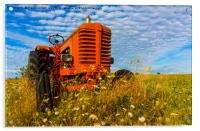 Bright Red Tractor, Acrylic Print