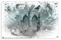 City Art Brooklyn Bridge in Detail | cyan, Acrylic Print