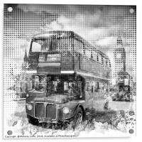 Graphic Art LONDON WESTMINSTER Buses | Monochrome, Acrylic Print