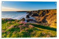 Bedruthan Steps Cornwall in Spring, Acrylic Print