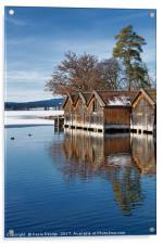 Boathouses on the Frozen Lake, Acrylic Print