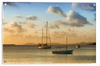 Caribbean Evening Anchorage, Acrylic Print