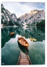 Braies lake in Dolomites, Italy, Acrylic Print