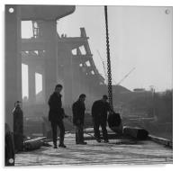 Men at work on the Medway Bridge, Acrylic Print