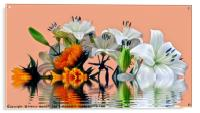 Sunflowers and Lilies, Acrylic Print