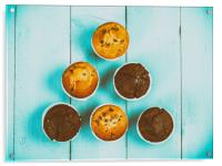 Homemade Chocolate Chip Muffins On Blue Table, Acrylic Print
