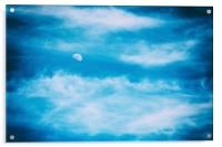 Moon Visible In Blue Sky With White Soft Clouds, Acrylic Print