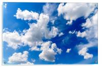 White Cumulus Clouds On Blue Sky, Acrylic Print
