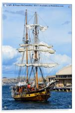 Tall ship arriving at Hobart harbour Tasmania, Acrylic Print