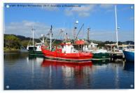 Fishing boats in Strahan harbour, Tasmania, Acrylic Print