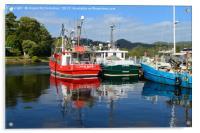 Fishing boat reflections in Strahan harbour, Tasma, Acrylic Print