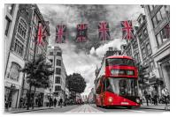 British bus and flags in Oxford Street, London, Acrylic Print