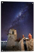 Milky Way and Parinacota Church Bell Tower Chile, Acrylic Print