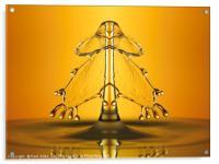 golden water drop symmetry, Acrylic Print