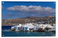 Mykonos Town, Greece Little Venice day view., Acrylic Print