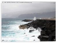 dramatic surf and waves at puerto cruz, Acrylic Print