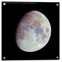 Waxing gibbous color Moon on black sky, Acrylic Print