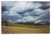Stormy cloudscape over fields and pasture , Acrylic Print