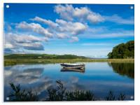 The Blue Boat and Reflections - Laugharne Estuary., Acrylic Print