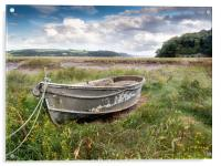 The Grey Boat at Laugharne., Acrylic Print