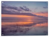 Sunset and the Sticks on Pendine Beach., Acrylic Print