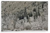 Winter's dawn light touches Graswang Church, Acrylic Print