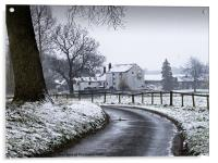 Water Mill after the Snowfall, Acrylic Print