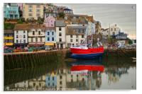 Brixham Harbour with Red Fishing Boat, Acrylic Print