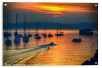 Brixham Inshore Lifeboat at Sunset                , Acrylic Print