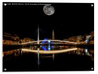 Bassin du Commerce At Night In Le Havre, France., Acrylic Print