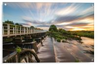 Sunset explodes over the river Aire, Acrylic Print