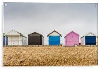 Beach huts along Calshot , Acrylic Print
