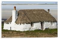 Building, Cottage, Thatched, White walls, Acrylic Print