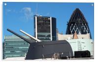 Guns of HMS Belfast and City of London Skyline, Acrylic Print