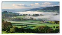 Llanhamlach Old School as an autumn mist rises., Acrylic Print