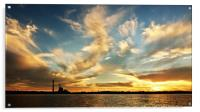 Colourful Lake Sunset over a power station., Acrylic Print