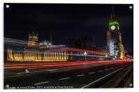 London bus across Westminster Bridge, Acrylic Print