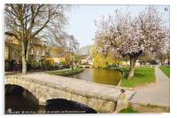 Spring Blossom Bourton-on-the-Water , Acrylic Print