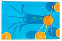 Orange juice and sliced oranges in sunlight, Acrylic Print