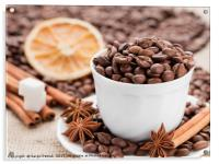 Grains coffee in cup. Cinnamon and anise on a dish, Acrylic Print
