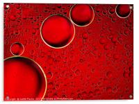Red bubbles. Oil and liquid abstract. , Acrylic Print