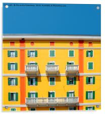 Mediterranean Colours on Building Facade, Acrylic Print