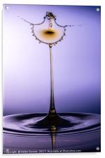 Purple gold water drop, Acrylic Print