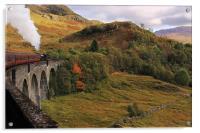 Steam train on Glenfinnan Viaduct Scotland, Acrylic Print