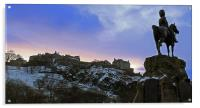 Edinburgh Castle and Scots Grey memorial, Acrylic Print