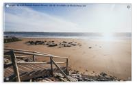 Wooden jetty over the breakwater at low tide, Acrylic Print